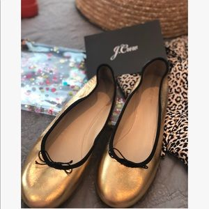 J. Crew Stunning Evie Gold Leather Ballet Flat 9.5
